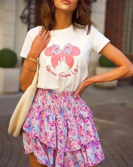 Letter Cartoon Print Top & Layered Ruffles Floral Print Skirt Set
