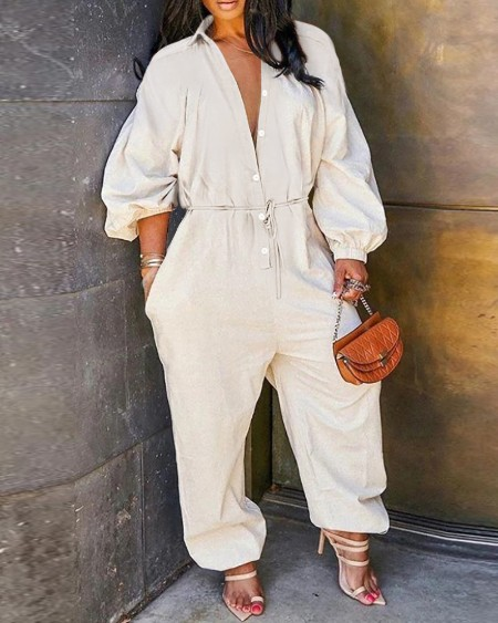 Lantern Sleeve Button Front Casual Jumpsuit
