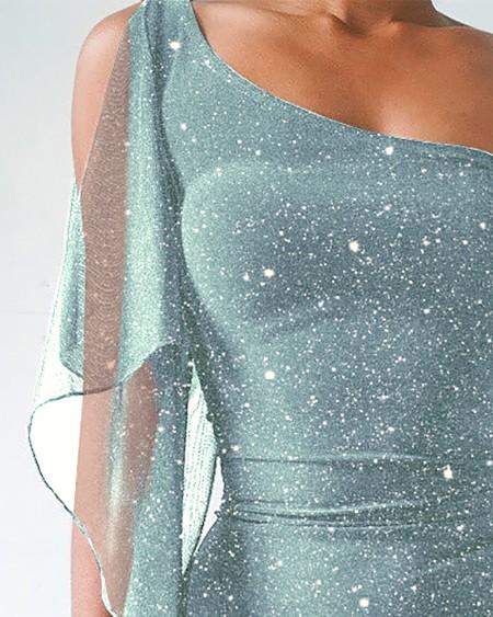 One Shoulder Mesh Sequins Drawstring Bodycon Dress