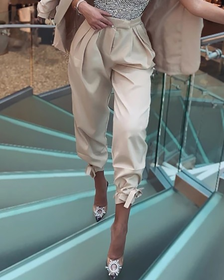 Ruched Tied Detail High Waist Pants