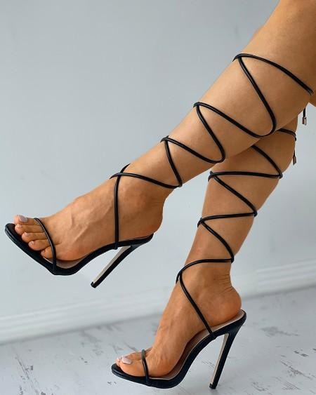 Squrae Toe Strappy Stiletto Heels