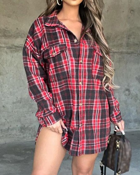 Plaid Print Button Up Long Sleeve Top