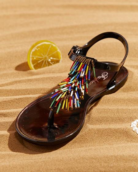 Toe Post Colorful / Metal Tassel Beaded Flat Sandals