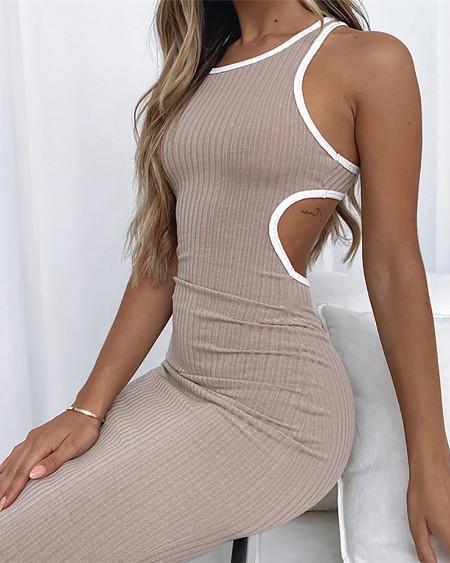 Round Neck Sleeveless Midi Dress Colorblock Contrast Binding Cutout Bodycon Dress