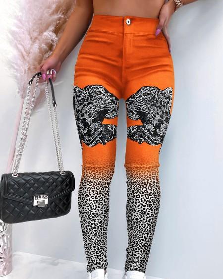 Leopard Print Zipper Button Design Skinny Pants