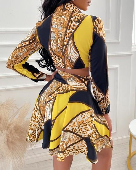 Cheetah Print Colorblock Tie Front Crop Top & Skirt Set
