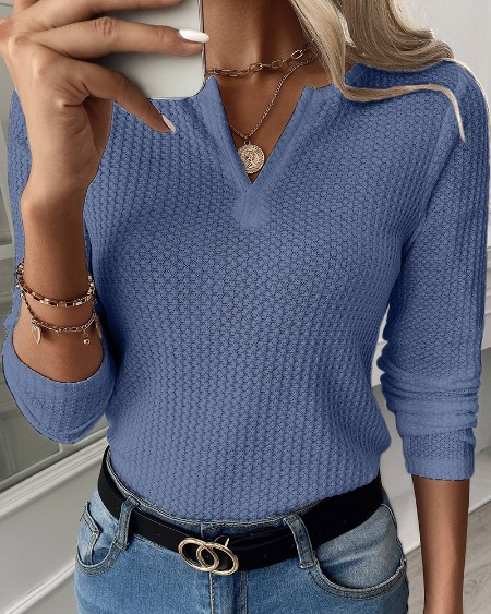 Waffle Knit Long Sleeve V Cut Top