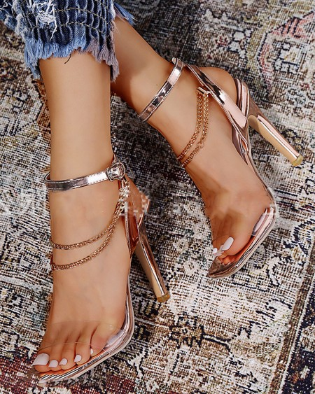 Square-toe Splicing Clear Strap Heel Sandals