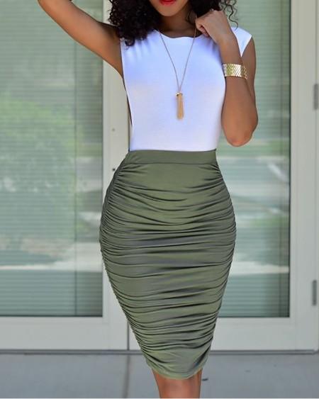 Sleeveless Top & Ruched Midi Skirt Set