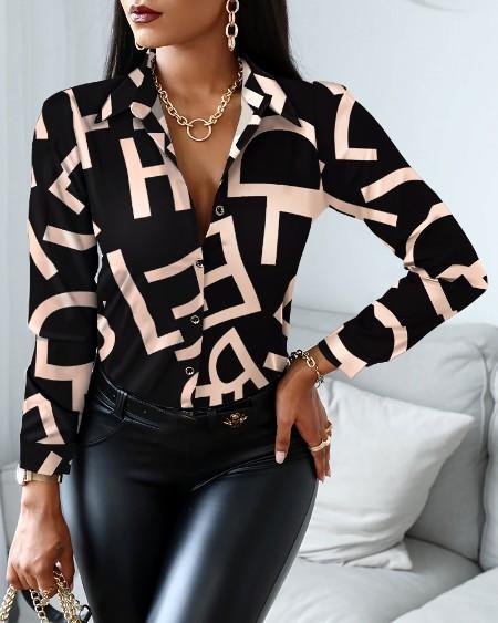 Blusa de trabalho elegante de manga comprida com estampa de carta
