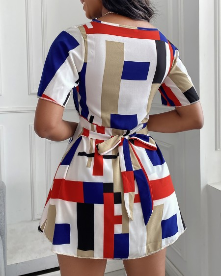 Colorblock Short Sleeve Top & Shorts Set