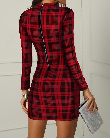 Plaid Long Sleeve Bodycon Dress