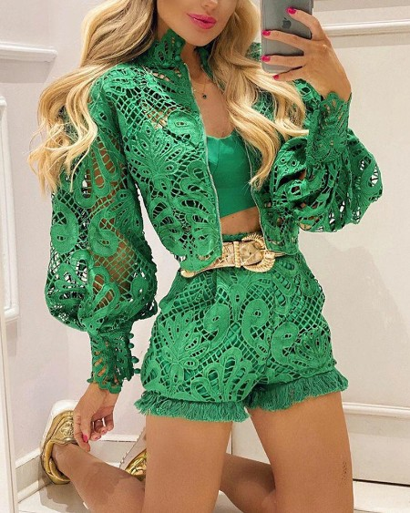 Lace Contrast Hollow-Out Shorts With Lantern Sleeve Coat