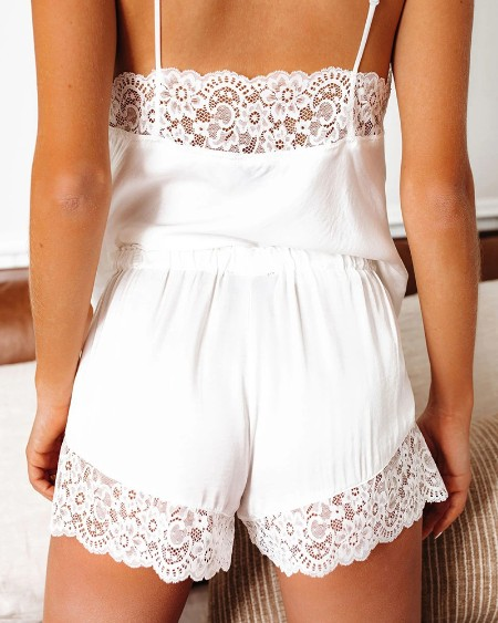 Lace Trim Spaghetti Strap Top & Shorts Set