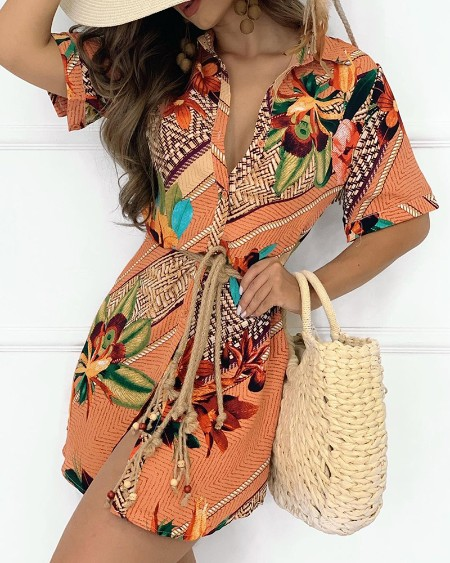 Button Design Graphic Tropical Print Short Sleeve Shirt Dress