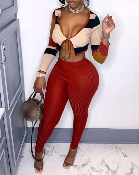 Colorblock Tie Front Cardigan & Pants Set