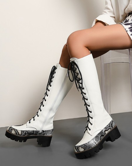 Round Toe Patchwork Lace-up High Heel Boots