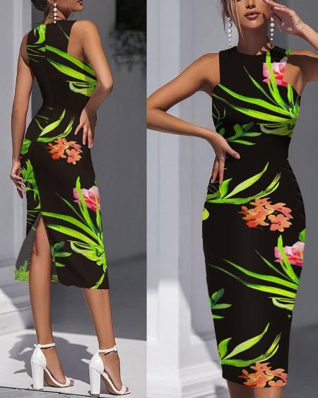 Floral Print Sleeveless Split Back Bocydon Dress