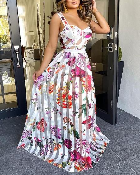 Sheer Mesh Patch Floral Print Maxi Dress