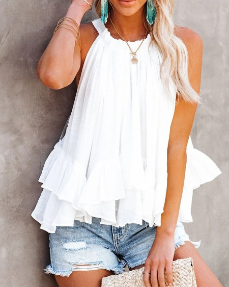 Halter Ruched Ruffles Sleeveless Casual Top