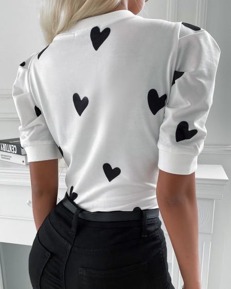 Heart Print Puffed Sleeve Short Sleeve T-shirt