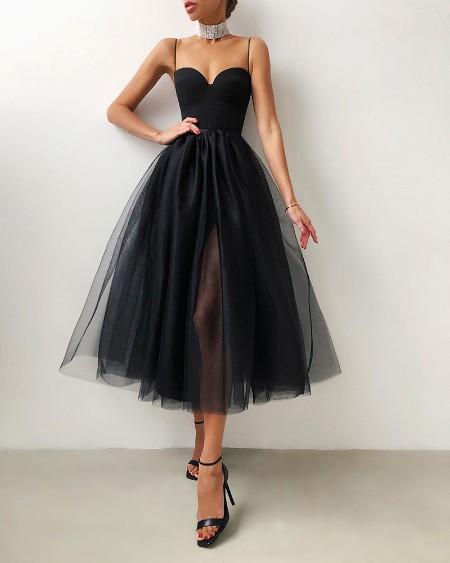 Spaghetti Strap Plain Sheer Mesh Evening Dress