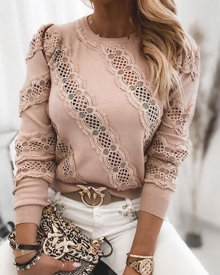 Lace Contrast Long Sleeve Sweatshirt