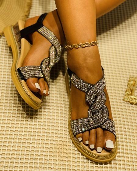 Studded Twisted Design Flat Sandals