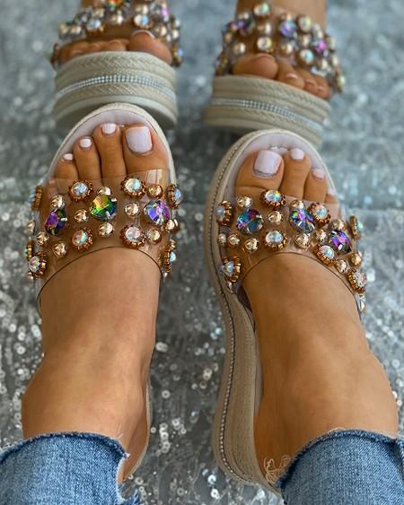 Rhinestone Clear Perspex Woven Flax Wedge Sandals