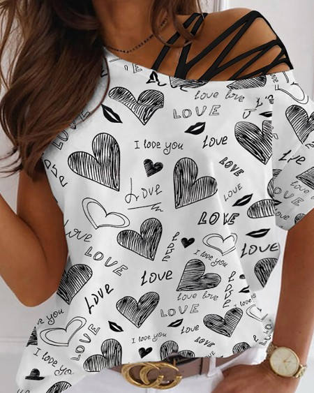 Mother's Day Heart Letter Print One Shoulder Lace-up Top