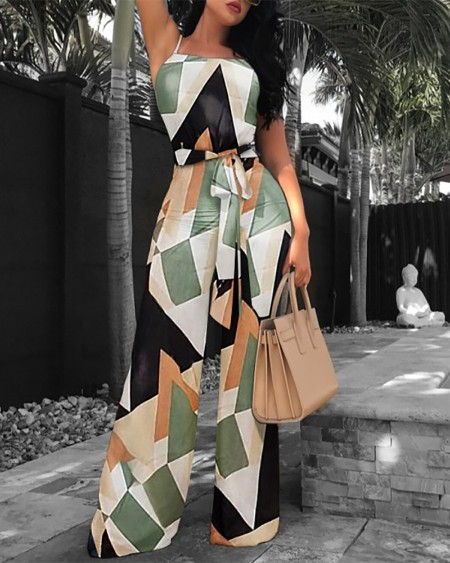 Abstract Print Colorblock Sleeveless Tie Front Jumpsuit