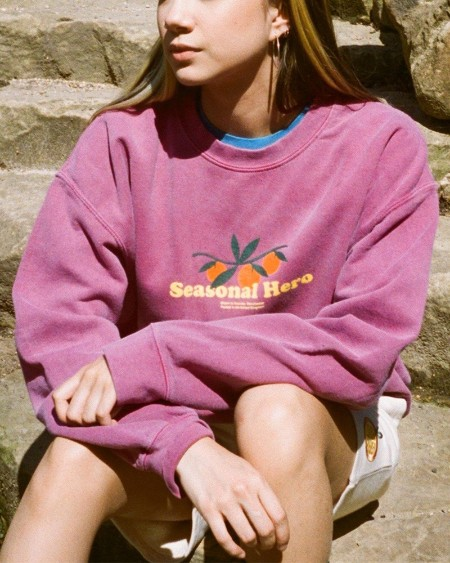 Long Sleeve Letter & Fruit Print Round Neck Sweatshirt