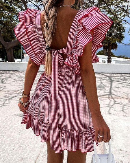 Plaid Print Ruffles Knotted Backless Casual Dress
