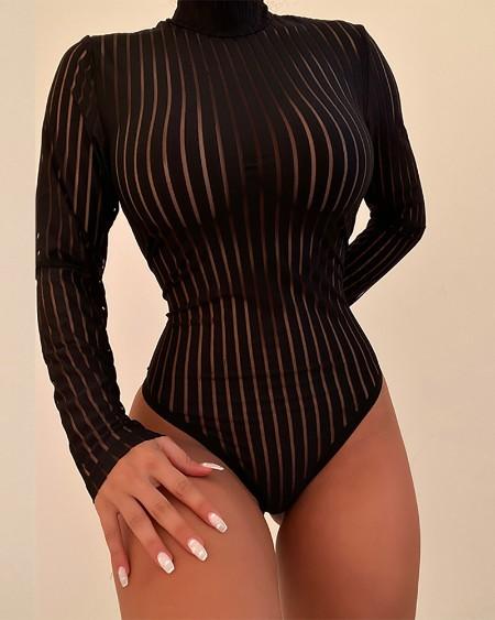 Striped Sheer Mesh Long Sleeve Teddy