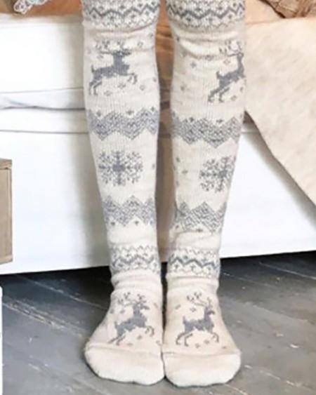 Christmas Mixed Print Over The Knee Socks
