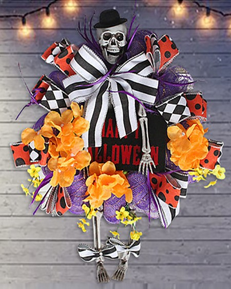 Artificial Halloween Wreath Skull Wreath With Floral & Ribbon Grapevine Wreath For Front Door Window Wall Halloween Decoration