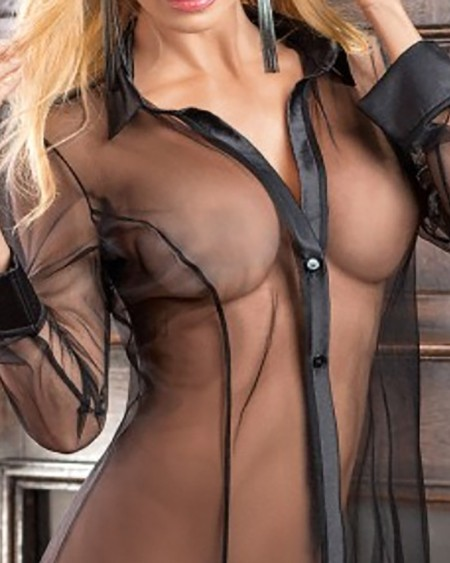 Sheer Mesh Button Front Babydoll