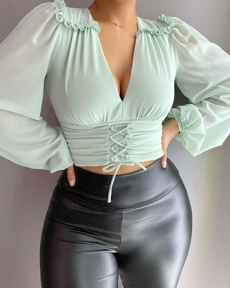Frill Hem Shirring Detail Ruched Lace Up Top