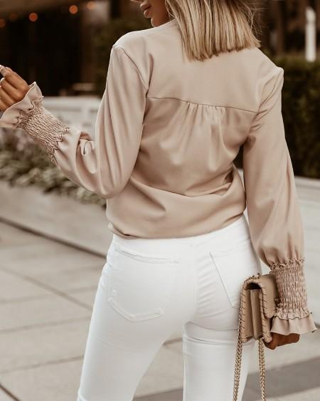 Frill Hem Shirred Long Sleeve Top