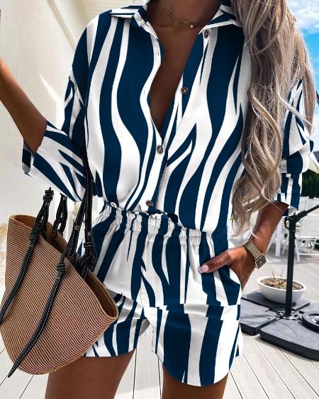 Zebra Stripe Button Design Casual Shirt & Shorts Set