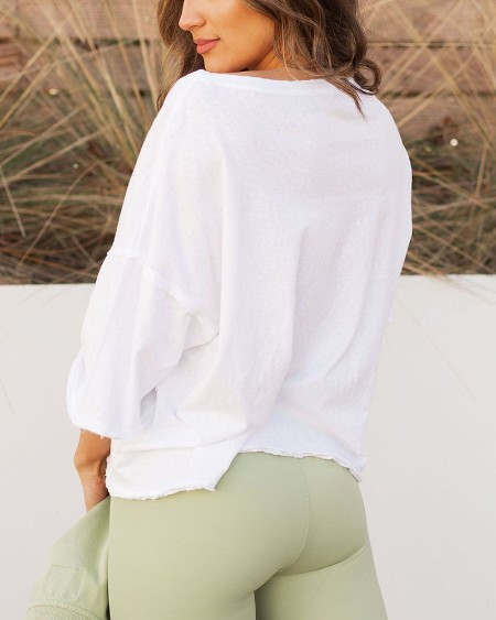 Solid Color Short Sleeve Loose T-shirt With Pocket