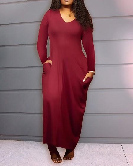 Plus Size V Neck Long Sleeve Pocket Design Maxi Dress