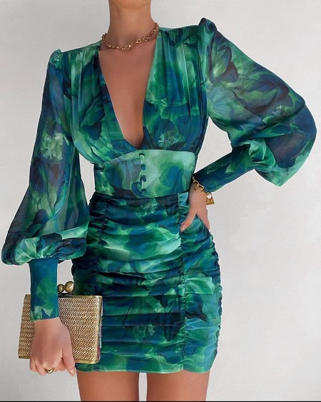 Plunge Ruched Puff Lantern Sleeve Floral Print Dress Long Sleeve Mini Skinny Dress