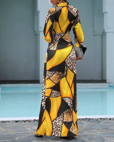 Cheetah Print Colorblock Twisted High Slit Shirt Dress