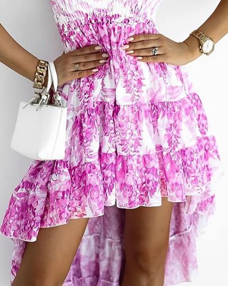 Colorblock Shirred Ruched Dip Hem Dress