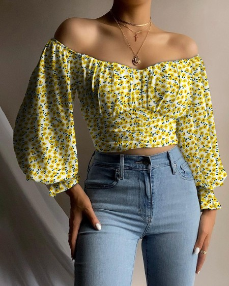 Off Shoulder Ditsy Floral Print Ruched Lantern Sleeve Blouse