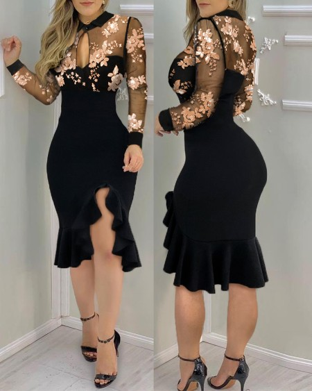 Slit Ruffles Hem Embroidery Lace Floral Pattern Long Sleeve Slimming Dress Sexy Elegant Casual Party dress