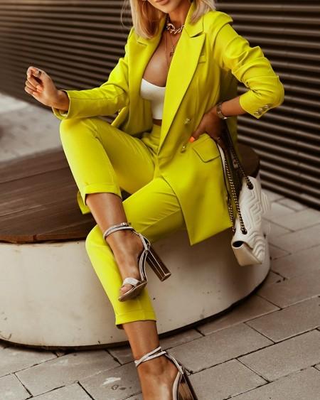 Double Breasted Blazer Coat & Pants Set