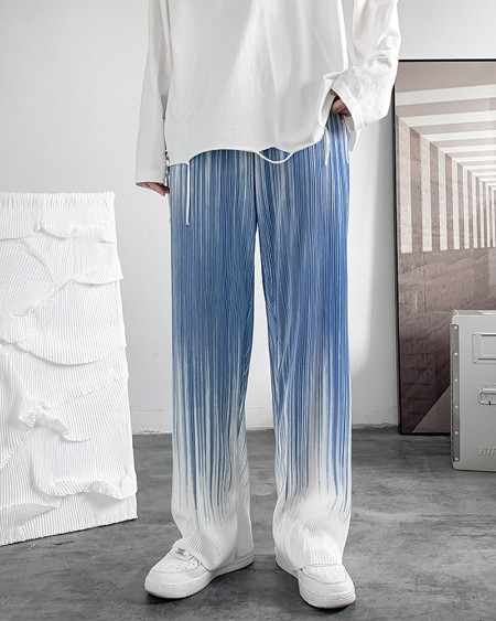 Gradient Color Block Pleated Mopping Pants