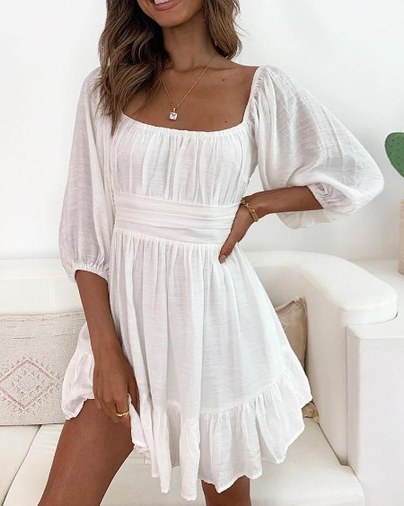 Lantern Sleeve Ruched Casual Dress